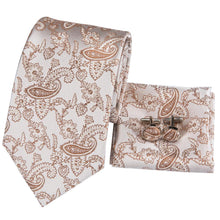 Load image into Gallery viewer, Fashion Accessories Light Brown Paisley Men's Necktie Set - Suit Monkey UK