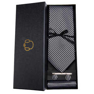Metal Look Men's Necktie Set Fashion Accessories Barry.Wang VIP Store
