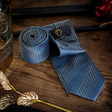 Load image into Gallery viewer, Metallic Shades of Blue Men's Necktie Set Free Shipping!