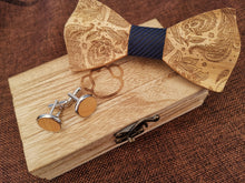 Load image into Gallery viewer, Navy Wooden Bow Tie Set Fashion Accessories Suit Monkey UK