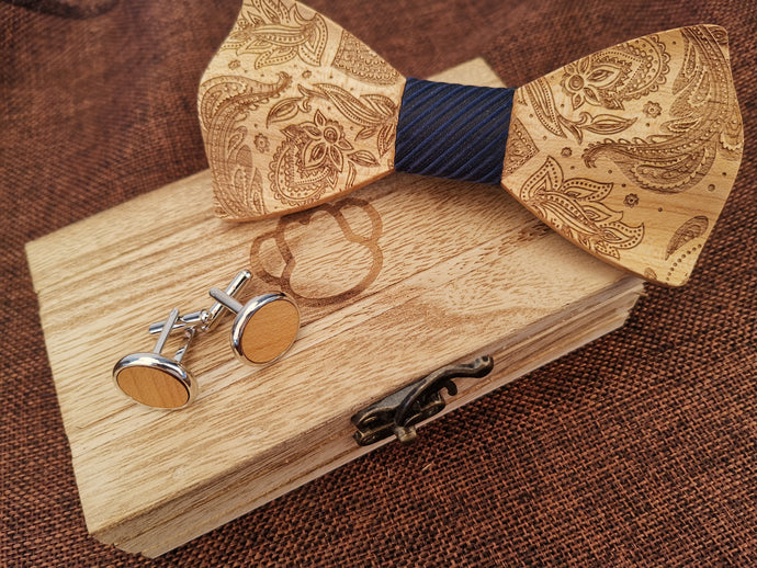 Navy Wooden Bow Tie Set Fashion Accessories Suit Monkey UK