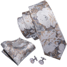 Load image into Gallery viewer, Fashion Accessories Neutral Petals Men's Necktie Set - Suit Monkey UK