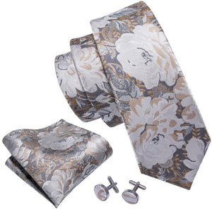 Fashion Accessories Neutral Petals Men's Necktie Set - Suit Monkey UK