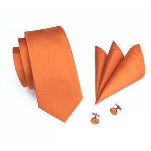 Orange Men's Necktie Set Fashion Accessories Hi-Tie Official Store