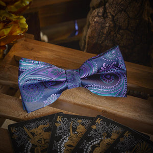 Fashion Accessories Paisley Purple & Blue Men's Bow Tie Set - Suit Monkey UK