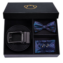 Load image into Gallery viewer, Fashion Accessories Paisley Purple & Blue Men's Bow Tie Set - Suit Monkey UK