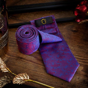 Paisley Purple & Blue Men's Necktie Set Fashion Accessories Free Shipping!