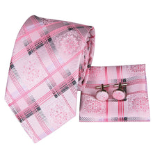 Load image into Gallery viewer, Fashion Accessories Pink Blossom on Tartan Men's Necktie Set - Suit Monkey UK