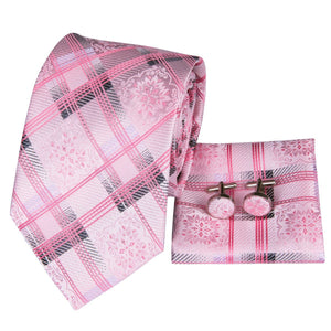 Fashion Accessories Pink Blossom on Tartan Men's Necktie Set - Suit Monkey UK