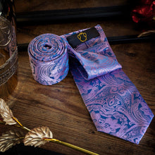 Load image into Gallery viewer, Pink & Blue Men's Necktie Set Fashion Accessories Free Shipping!