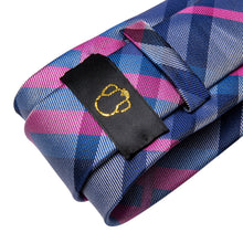 Load image into Gallery viewer, Fashion Accessories Pink & Blue Tartan Men's Necktie Set - Suit Monkey UK