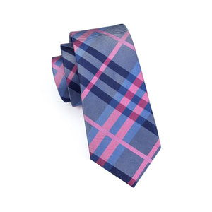 Fashion Accessories Pink & Blue Tartan Men's Necktie Set - Suit Monkey UK