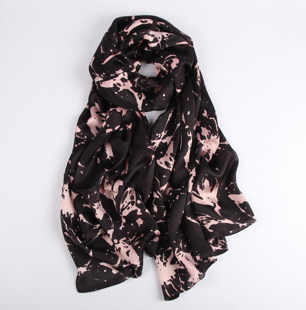 Fashion Accessories Pink Splatters on Black Ladies' Scarf - Suit Monkey UK