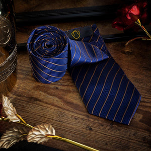 Fashion Accessories Pinstripe Blue Men's Necktie Set - Suit Monkey UK