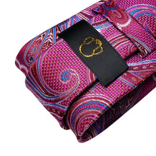 Load image into Gallery viewer, Playful Pink & Blue Paisley Men's Necktie Set - Suit Monkey UK
