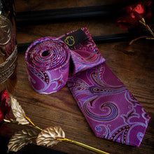 Load image into Gallery viewer, Playful Pink & Blue Paisley Men's Necktie Set Free Shipping!