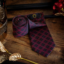 Load image into Gallery viewer, Red and Black Tartan Men's Necktie Set Fashion Accessories Free Shipping!