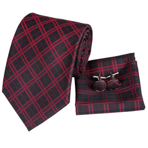 Red and Black Tartan Men's Necktie Set Fashion Accessories Hi-Tie Official Store