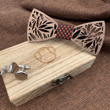 Load image into Gallery viewer, Red & Black Wooden Bow Tie Set Fashion Accessories Suit Monkey UK