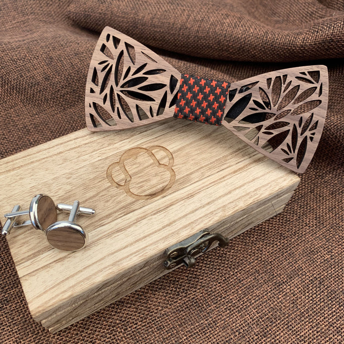 Red & Black Wooden Bow Tie Set Fashion Accessories Suit Monkey UK