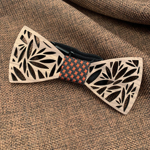 Red & Black Wooden Bow Tie Set Fashion Accessories Suit Monkey UK Red Leaves(Big)