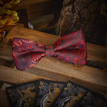 Load image into Gallery viewer, Red Paisley Men's Bow Tie Set Fashion Accessories Free Shipping!