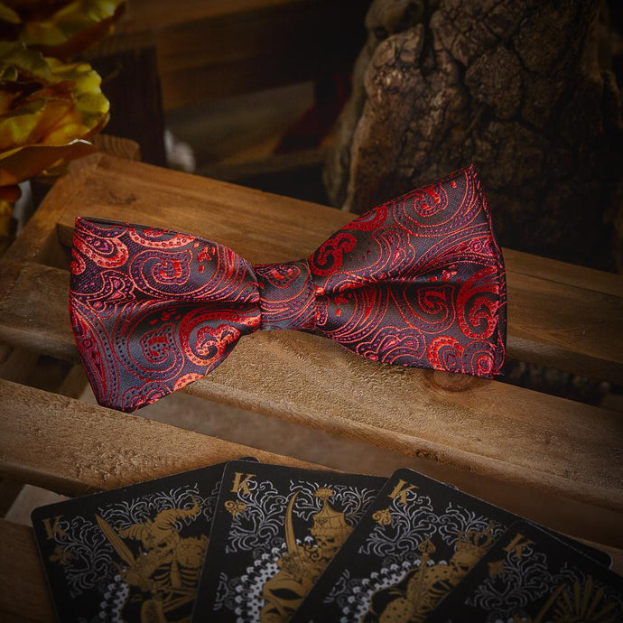 Red Paisley Men's Bow Tie Set Fashion Accessories Free Shipping!