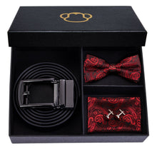 Load image into Gallery viewer, Fashion Accessories Red Paisley Men's Bow Tie Set - Suit Monkey UK