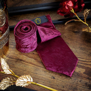 Red Paisley Men's Necktie Set Fashion Accessories Free Shipping!
