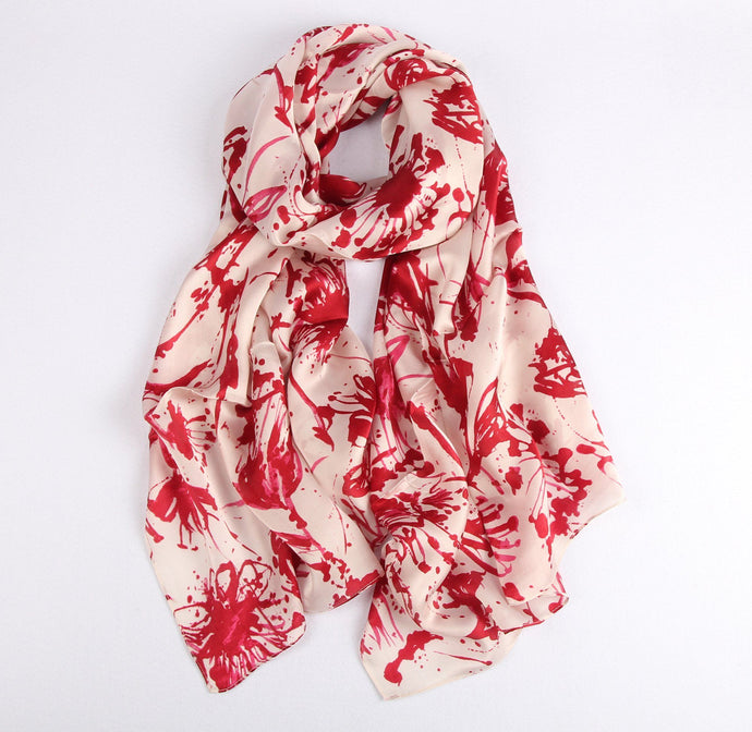 Red Splatters on Pink Ladies' Scarf Fashion Accessories Suit Monkey UK