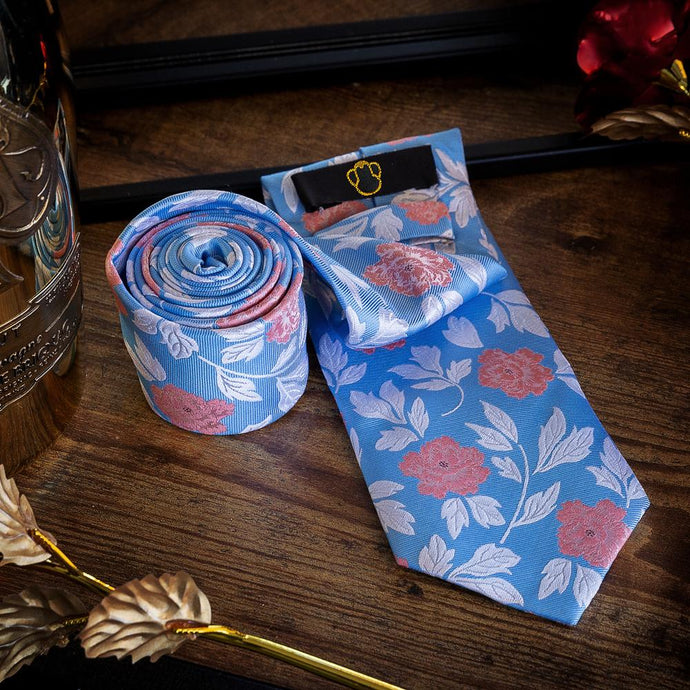 Roses on Blue Field Men's Necktie Set Fashion Accessories Free Shipping!