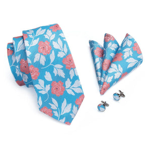 Roses on Blue Field Men's Necktie Set Fashion Accessories Hi-Tie Official Store