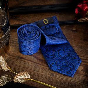 Royal Blue Paisley Men's Necktie Set Fashion Accessories Free Shipping!