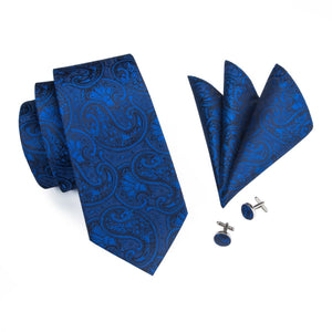 Royal Blue Paisley Men's Necktie Set Fashion Accessories Hi-Tie Official Store