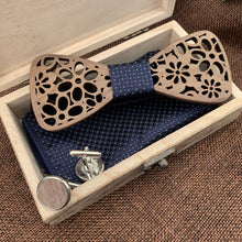 Load image into Gallery viewer, Royal Wooden Bow Tie Set Fashion Accessories Suit Monkey UK Blue