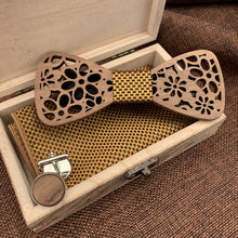 Load image into Gallery viewer, Royal Wooden Bow Tie Set Fashion Accessories Suit Monkey UK Gold