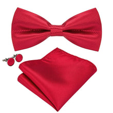 Load image into Gallery viewer, Men's Ties & Handkerchiefs Scarlet Red Men's Bow Tie Set - Suit Monkey UK