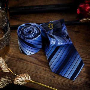 Fashion Accessories Shades of Blue Stripes Men's Necktie Set - Suit Monkey UK