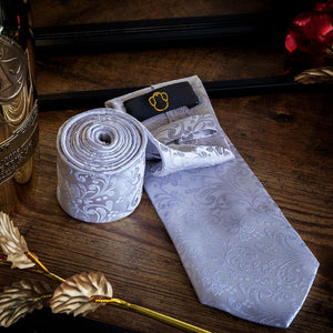 Silver Floralia Men's Necktie Set - Suit Monkey UK
