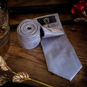 Fashion Accessories Silver Maze Men's Necktie Set - Suit Monkey UK