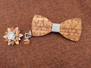 Silver Patterned Wooden Bow Tie Set Fashion Accessories Suit Monkey UK