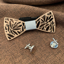 Load image into Gallery viewer, Silver Wooden Bow Tie Set Fashion Accessories Suit Monkey UK