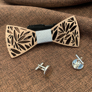 Silver Wooden Bow Tie Set Fashion Accessories Suit Monkey UK