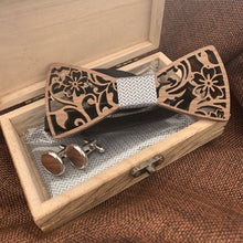 Load image into Gallery viewer, Silver Wooden Bow Tie Set Fashion Accessories Suit Monkey UK Silver Flowers