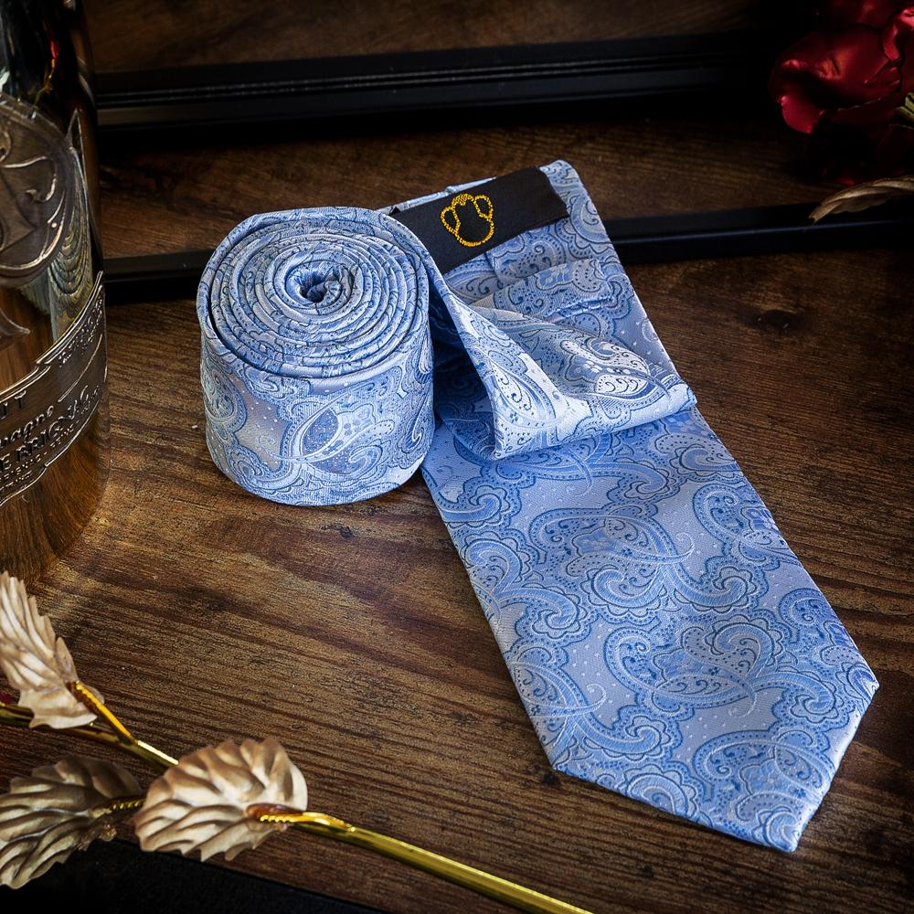 Sky Blue Paisley Men's Necktie Set Fashion Accessories Free Shipping!