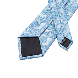 Sky Blue Paisley Men's Necktie Set Fashion Accessories Hi-Tie Official Store