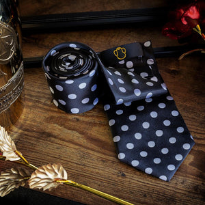 Small Black & White Polka Dots Men's Necktie Set Fashion Accessories Free Shipping!