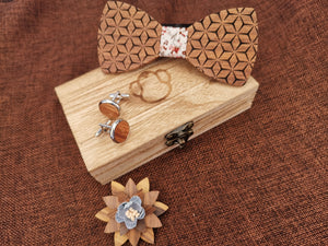 Fashion Accessories Spring Flowers Patterned Wooden Bow Tie Set - Suit Monkey UK