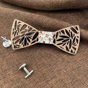 Fashion Accessories Spring Flowers Wooden Bow Tie Set - Suit Monkey UK