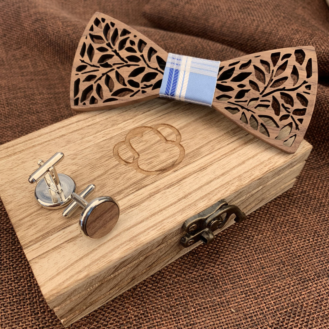 Fashion Accessories Tartan Blue Wooden Bow Tie Set - Suit Monkey UK